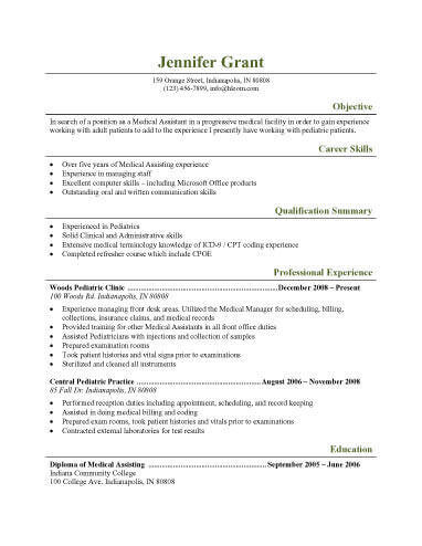 Resume Templates Medical