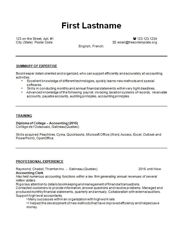 resume templates quebec