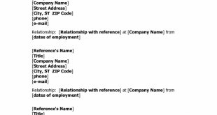 References On Resume Format
