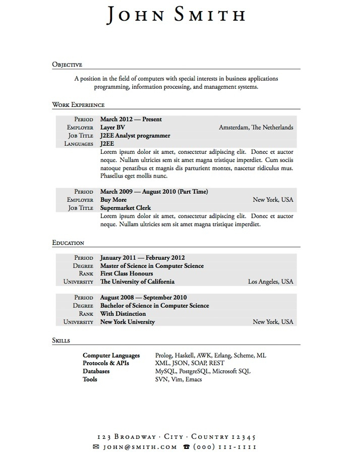 Resume Templates No Work Experience Resume Templates
