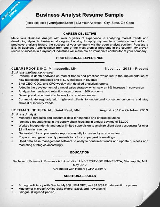 Resume Examples Business Analyst Resume Templates