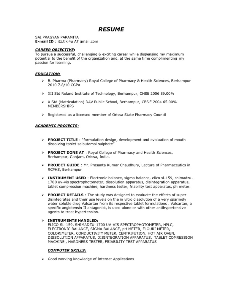 d pharmacy resume format for fresher