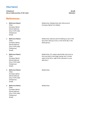 Resume Templates References Resume Templates