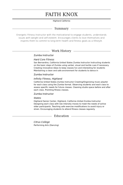 sample resume zumba instructor