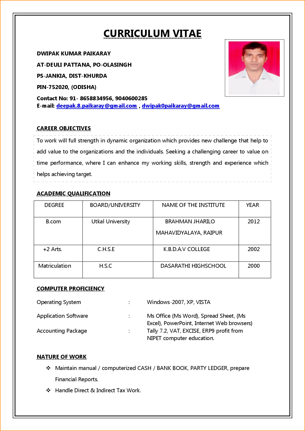 Resume Format Job Resume Templates