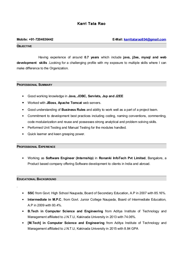 Sample Resume Format For 8 Months Experience Resume Templates