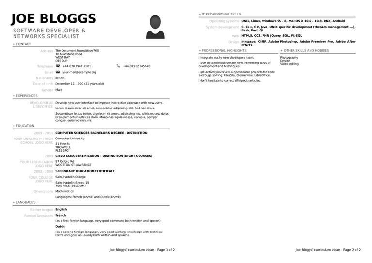 Resume Format Libreoffice