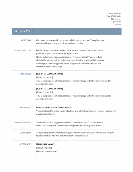 A Professional Resume Format