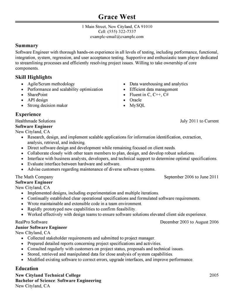 Resume Templates Software Engineer Resume Templates