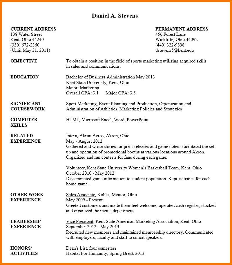 Resume Format Undergraduate Resume Templates