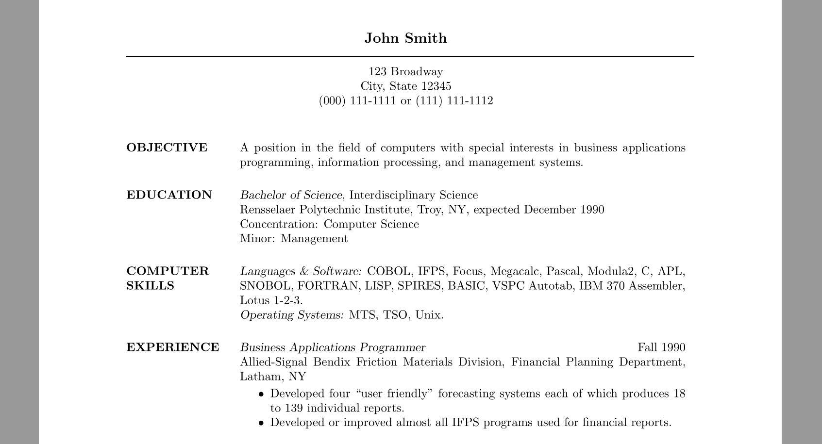 Resume Format Line Spacing