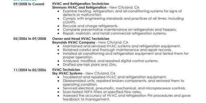 Resume Templates Hvac