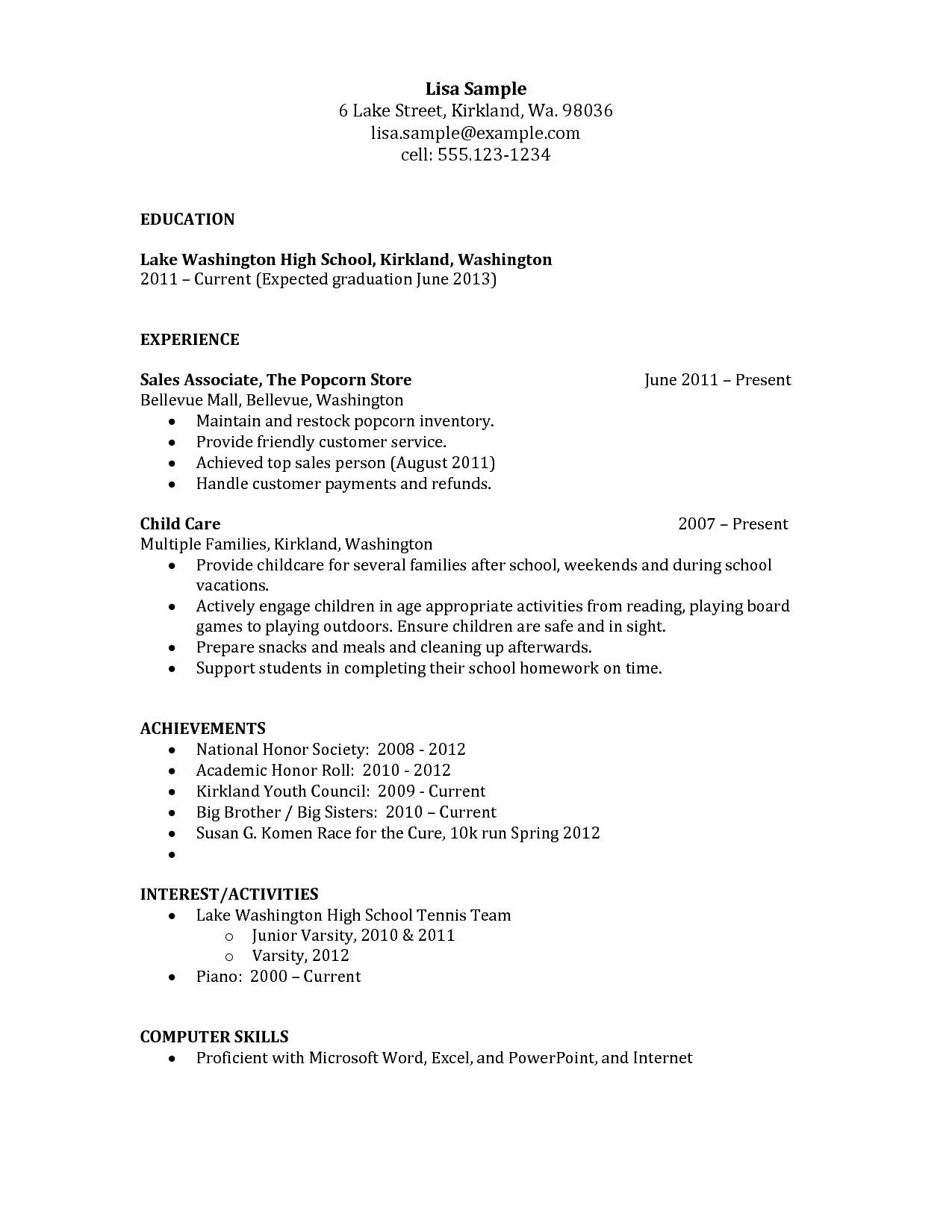Resume Templates High School Graduate Resume Templates