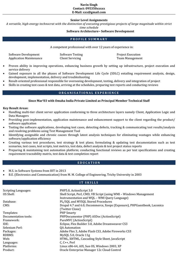 resume format 6 years software engineer