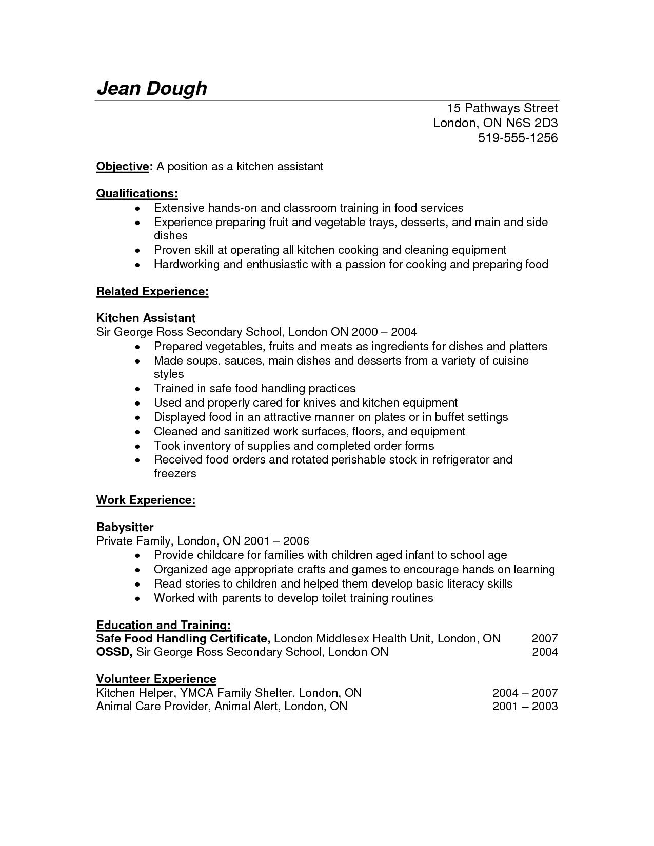 Resume Examples Kitchen Helper Resume Templates