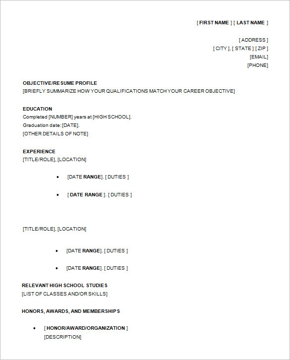 resume templates high school