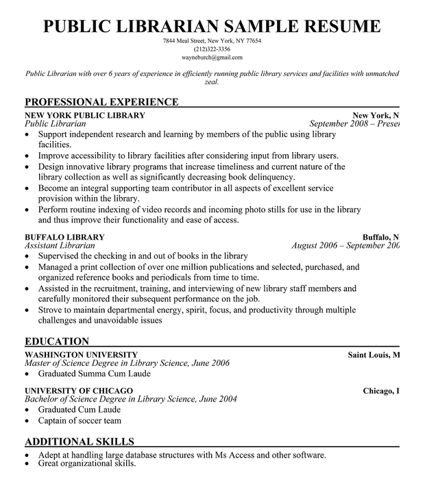 resume examples librarian