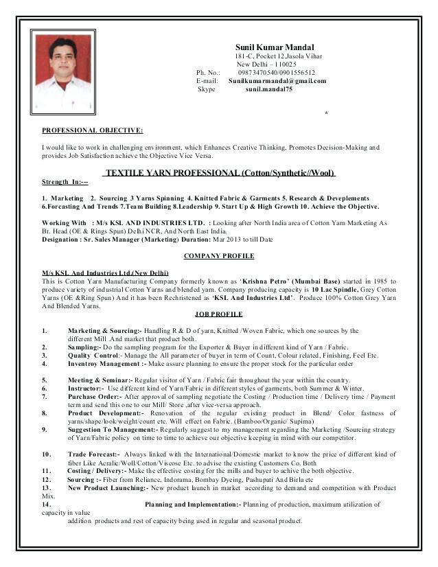 Resume Format Garment Industry