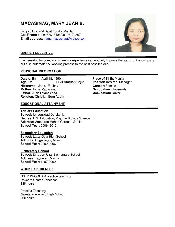 Resume Format Sample Resume Templates