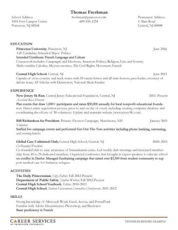 Resume Examples Undergraduate Resume Templates