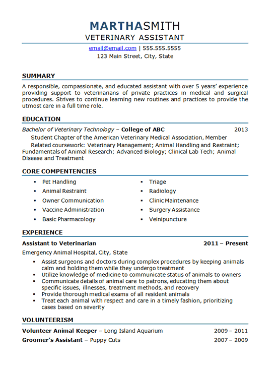Resume Templates Veterinary Technician