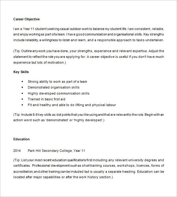 Resume Format High School