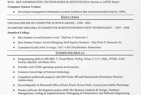 Resume Examples Just Out Of College