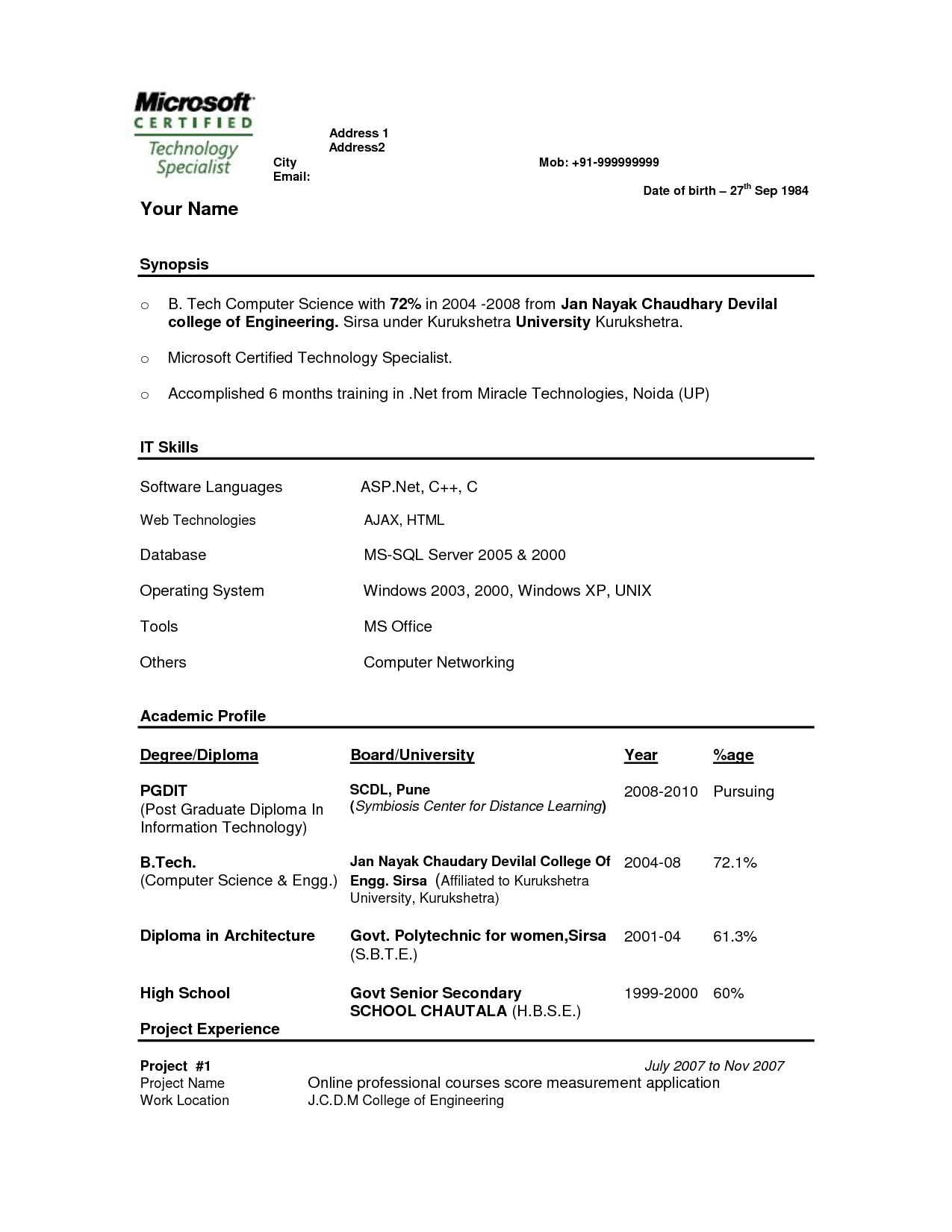 Resume Format For 3rd Year Engineering Students Resume Templates