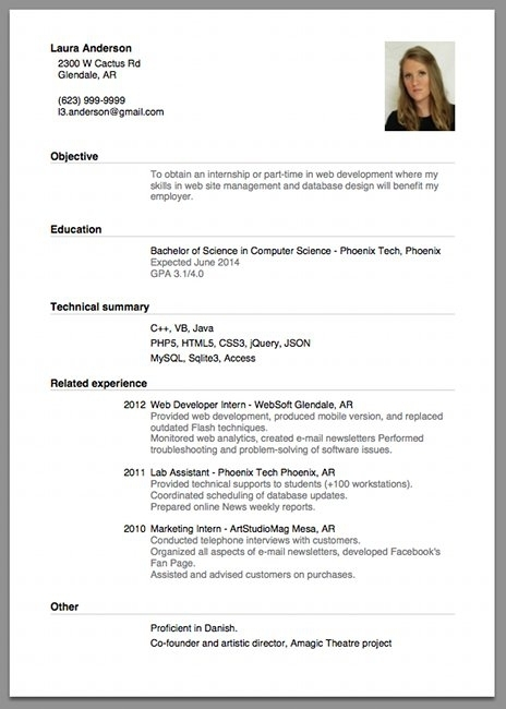 Resume Examples Job Application