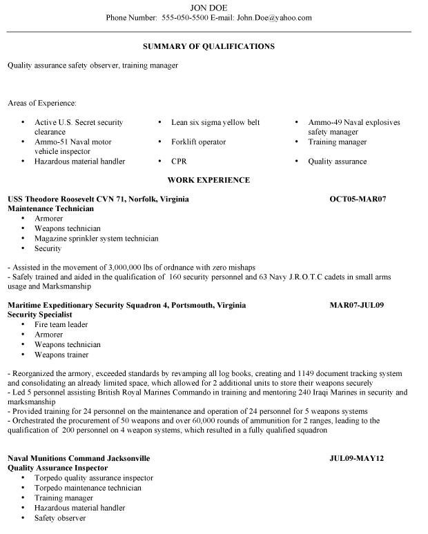 resume examples veterans