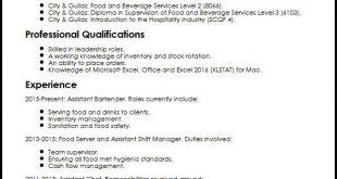 F&B Resume Format