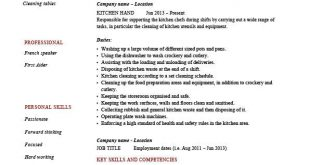 Resume Templates For Kitchen Worker