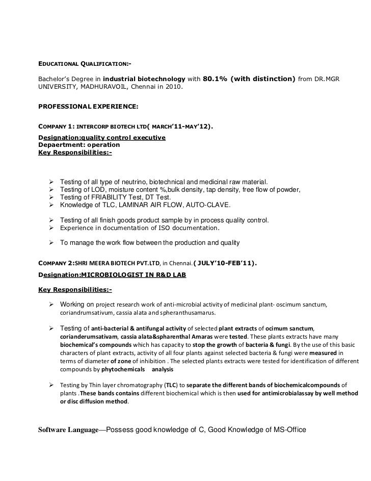 Resume Format Quality Assurance Pharma Resume Templates