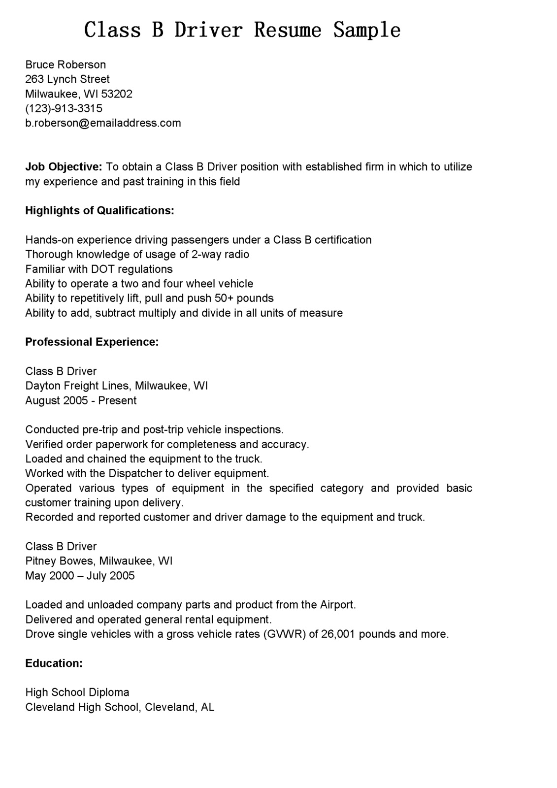 Cdl Class B Resume Examples