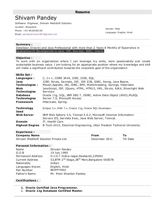 Resume Templates For 8 Years Experience