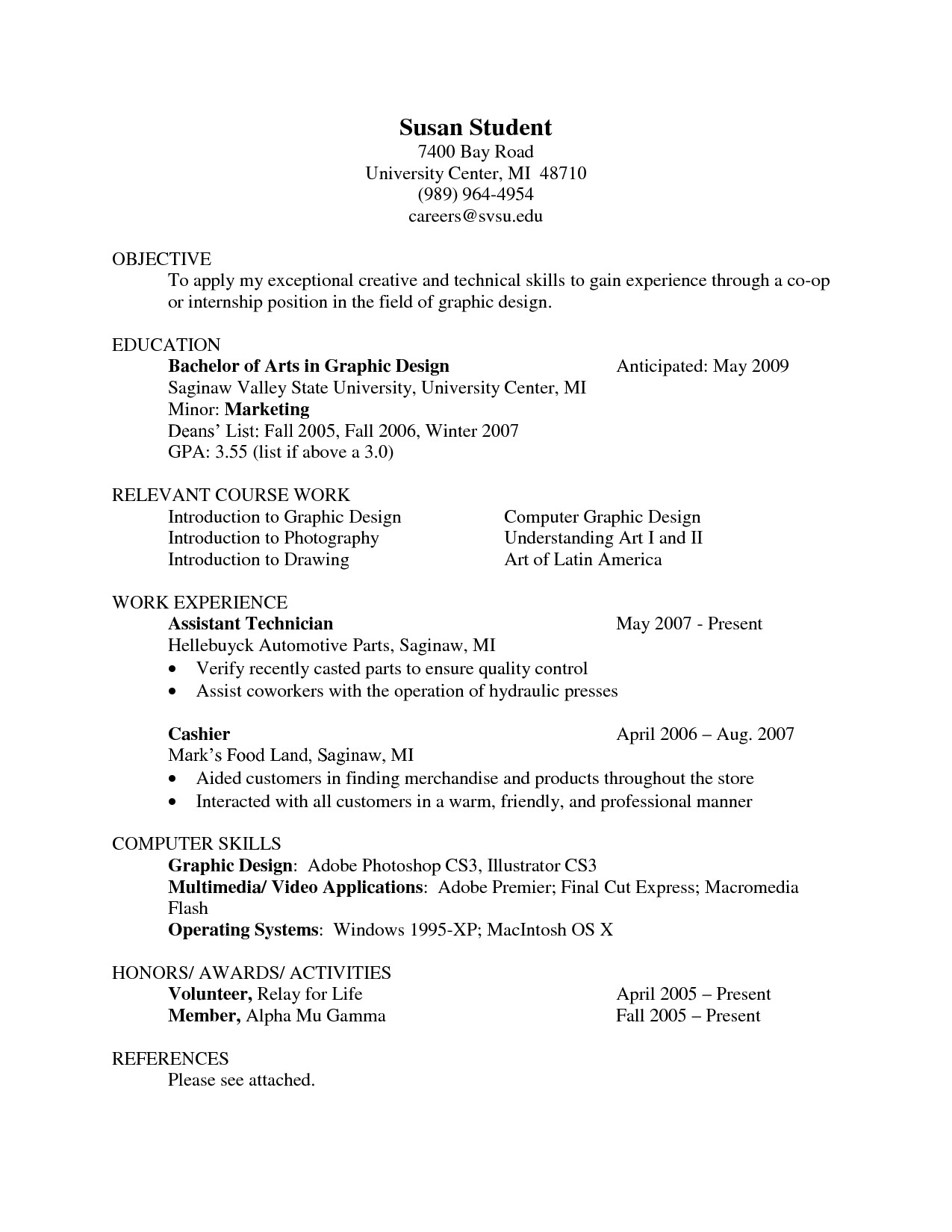 Resume Templates References