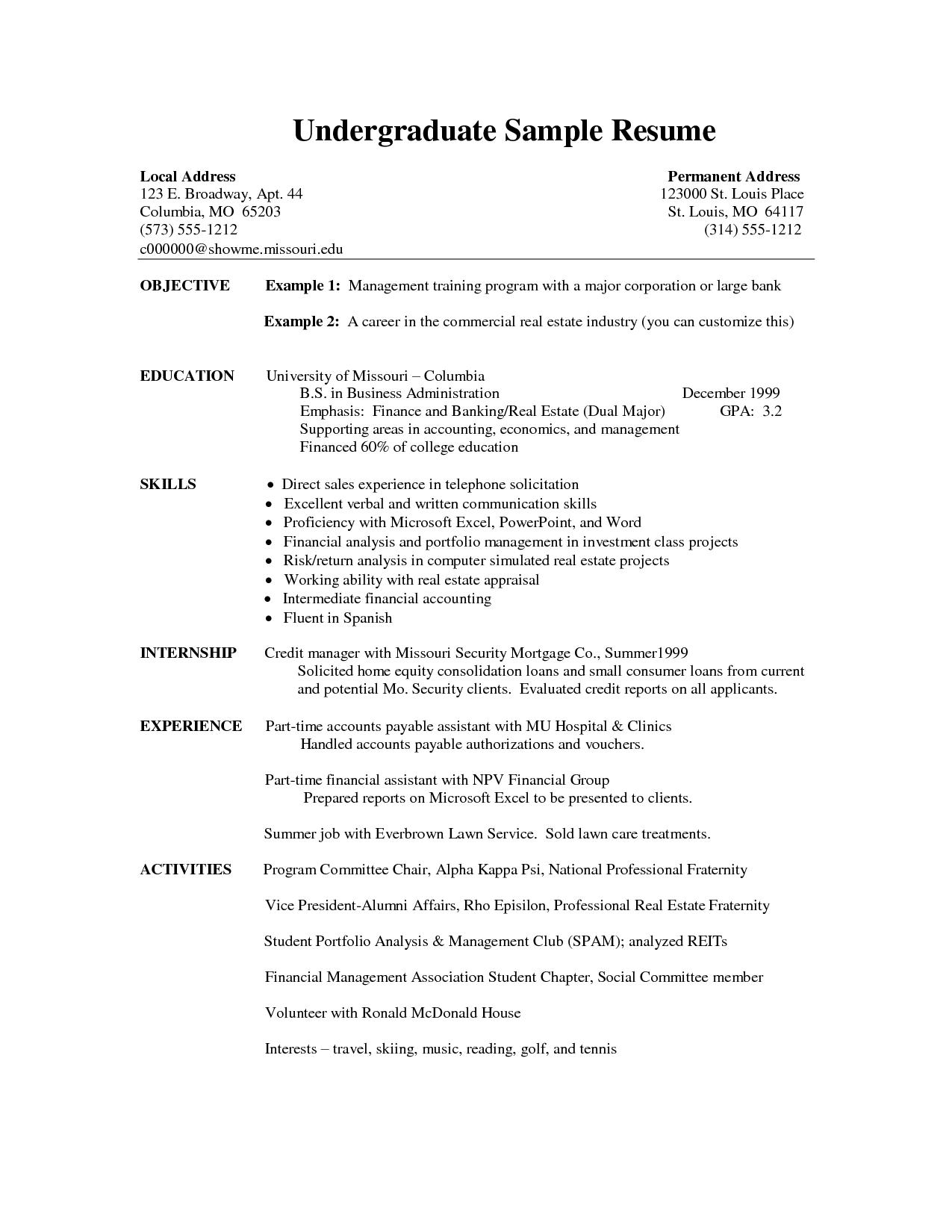 Resume Examples Undergraduate