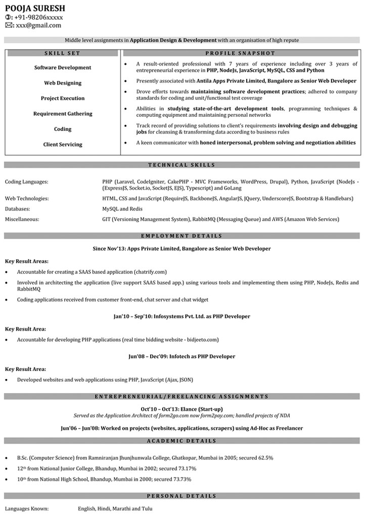 resume example 1 year experience