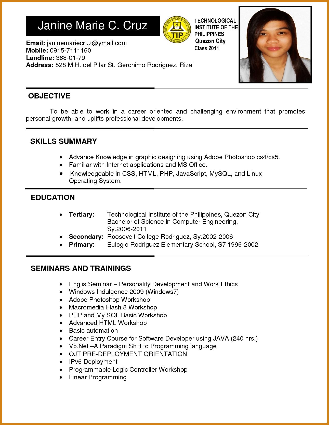 Resume Format For Job - Resume Templates