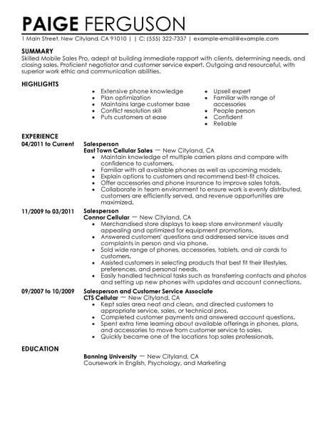 Resume Examples For Retail