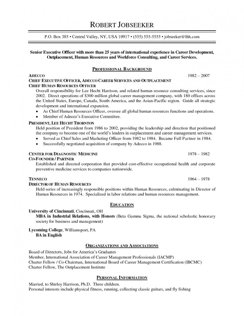 resume format non chronological