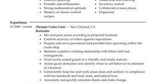 Resume Examples Bartender