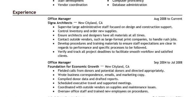 Resume Examples Office Manager