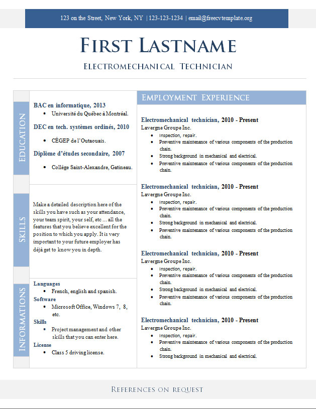Resume Templates Quebec