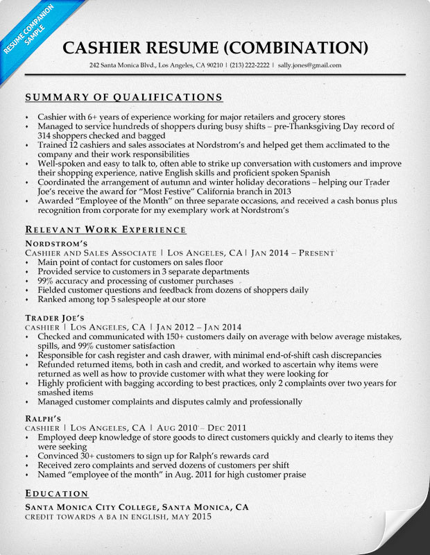 resume examples nordstrom