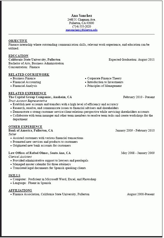 Resume Format Internship