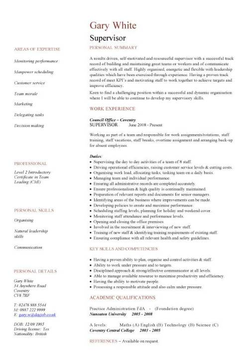 resume examples supervisor